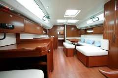 The sailboat's saloon for your skippered yacht charter holidays in Greek isles