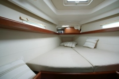 The sailboat's cabine for your skippered yacht charter vacations in Greek isles